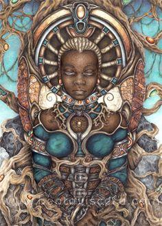 Items similar to Signed Fantasy Art Print - Archival Giclee Print - Black Woman Art - Afrocentric - Sci Fi Science Fiction Art - Black Art Reproduction on Etsy African American Art, African Art, African Style, Orishas Yoruba, Science Fiction Kunst, Fantasy Art Women, Black Artwork, Afro Art, Black Women Art