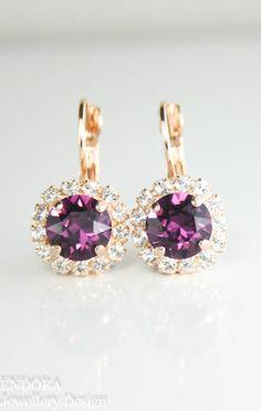 Swarovski amethyst rose gold leverback earrings | february birthstone | birthstone jewellery | amethyst bridal earrings | www.endorajewellery.etsy.com