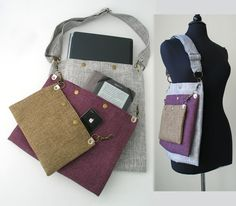 cross body purse, 3 sections tote bag converts to messenger, laptop bag, olive green, purple and grey handbag   |||  This is such a genius concept, and very stylish too.
