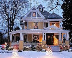 Beautiful Christmas house with wrap-around porch. Style At Home, Victorian Christmas, Christmas Home, Christmas Lights, White Christmas, Christmas Decorations, Outdoor Christmas, Christmas Christmas, Holiday Lights