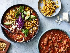 Spicy chorizo and creamy pinto beans form the base of this easy top-your-way soup. Get the recipe at Food & Wine. Wine Recipes, Mexican Food Recipes, Soup Recipes, Ethnic Recipes, Mexican Cooking, Mexican Dishes, Chili Recipes, Eating Fast, Cinco De Mayo