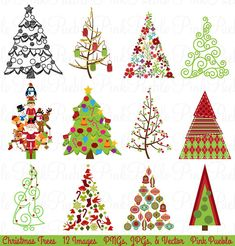 2 sets of 20 vector cartoon christmas tree designs in different rh pinterest com christmas holiday clipart images christmas holiday clipart free