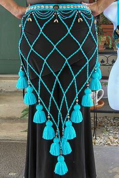 2 piece turquoise tribal set, aqua black and silver bra, lattice belt, matching bracelets