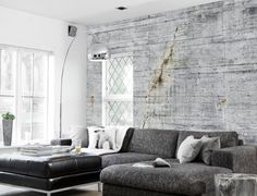 No.32 in a private house - concrete looking wallpaper as seen in Wallpaper* magazine