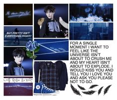 """""""Day N' Night with Min Yoongi"""" by park-ji-eun ❤ liked on Polyvore featuring Closed, Maje, Equipment, Converse and bathroom"""