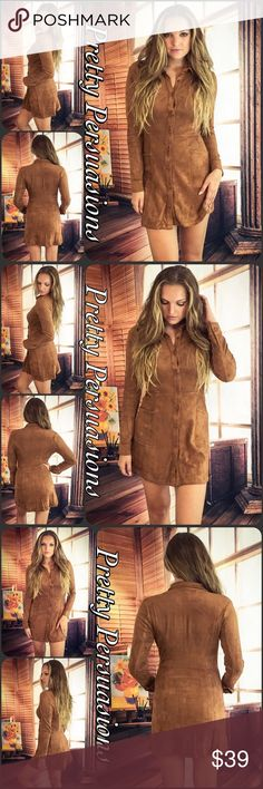 """LAST 1 ‼️Faux Suede Retro Mini Dress Tunic Available in S, M, L • Please refer to measurements for best fit... Measurements S Length: 33"""" Bust: 34"""" Waist: 28""""  M Length:  33"""" Bust: 38"""" Waist: 31""""  L Length: 33"""" Bust: 40"""" Waist: 34""""  Features • partial button front • long sleeves w/button cuffs • front pockets • soft, breathable material  Bundle discounts available No pp or trades  Item # 1/209190270SD Pretty Persuasions Dresses Long Sleeve"""