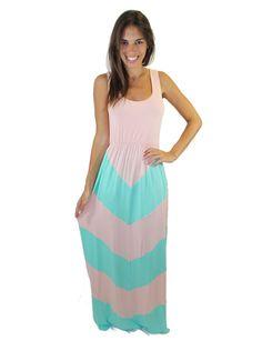 Light Pink and Aqua Chevron Maxi Dress