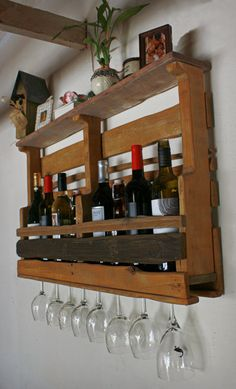 WOOD PALLET WINE RACKS | Recycled Wine Rack & Shelf Reclaimed Wood Pallet by dharmadesigned