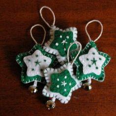 Handmade Green Felt Star Christmas Ornament Set by genae8design
