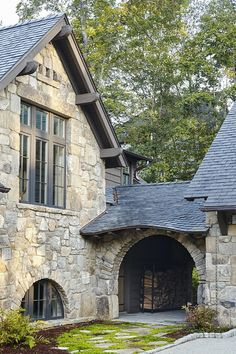 Whimsical lakeside cottage retreat with cozy interiors on Lake Keowee Stone Exterior Houses, Stone Houses, Stone House Exteriors, Stone House Plans, Cottage House Plans, Cottage Homes, Cottage Design, House Design, Architecture Design