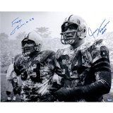 #7: Fuzzy Thurston/jerry Kramer Dual Hand Signed 16 inch x 20 inch Horizontal Black and White Photo