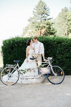 Bow tie La Chartreuse de Pomier Wedding Full Of Love, bride wore lace sleeve Eglantine gown, captured by Joice Kelly Photography Bicycle For Two, Tandem Bicycle, Bicycle Wheel, Wedding Shower Decorations, Beach Wedding Favors, Wedding Souvenir, Wedding Car Hire, Dream Wedding, Bicycle Wedding