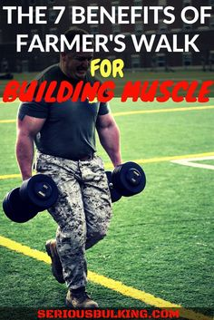 The 7 key benefits of farmer's walk for building muscle! Build more muscle and grip with farmer's walks, read how today! #musclebuilding #buildingmuscle #gainmuscle #musclegain #buildmusclefast #musclebuildingtips #musclebuildingnutrition #bodybuilding #fitness