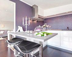 Purple and Black Kitchen Decor . 24 Fresh Purple and Black Kitchen Decor . Purple Kitchen — 14 Creative Ways to Decorate A Kitchen with Purple — Purple Rooms, Purple Walls, Purple Gray, Purple Kitchen Walls, Orange Kitchen, Kitchen White, Deep Purple, Gray Color, Kitchen Interior