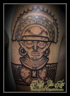 El Dorado Muisca Colombia Central America Andean mythology black stipple blackwork armband tribal shoulder tattoo kamloops dolly's skin art