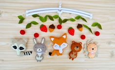 Baby mobile Woodland animals Forest Fox Rabbit Bear by minimezShop