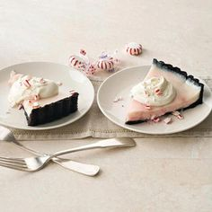 Peppermint Cream Tart in a Chocolate Crust