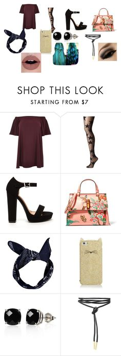 """""""casual punk"""" by alexandriamcbride on Polyvore featuring River Island, Pretty Polly, Gucci, Boohoo, Kate Spade and Belk & Co."""
