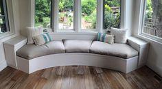 Latex foam inside a down envelope. The cover is hemp. Window Seat Cushions, Outdoor Cushions, Cushions On Sofa, Couch, Window Seats, Cushions To Make, Upholstery Foam, Lounge Seating, Sew