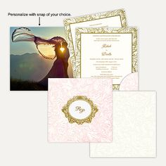 This card is made out of an Ivory (cream) paper board with matching mailing envelope. Card front has self embossed floral design all over with beautiful spot lamination effect in pastel pink shade. Gold plated Initials sticker placed in oval circle surrounded by floral design in gold foil printing at center of the card gives amazing look. Initials can be customizable as per couple's name. #FeaturedWeddingCard #WeddngInvitation