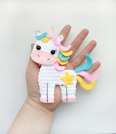 PATTERN Unicorn Applique Crochet Pattern PDF Instant Download Baby Shower Gift Embellishment Accessories Motif Ornament for Baby Blanket ENG