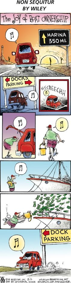 PICTURE SPECIFIC | Non Sequitur | by Wiley Miller | Images provide all you need to know about the narrative. The words written on the signs and the music note symbols within the speech bubbles play no specific role and just accentuate the carefree mood and atmosphere created through the simple and organic illustrations, gentle colour scheme and large use of white space. A sense of cheerfulness is also enforced through the depiction of movement through the panels that follow a bounce-like…