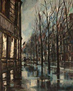 Bernard Lamotte (1903-1983) - Paris, rainy day (1960)