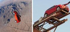 Carro faz bungee jump e salta de paraquedas em campanha de montadora