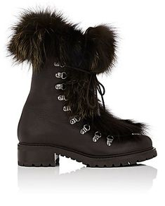 434211fb273a We Adore  The Fur-Trimmed Leather Ankle Boots from Barneys New York at  Barneys New York