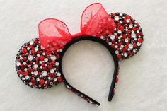 Red, Black, & Clear Rhinestone Minnie Mouse Ears With Black Sequins - MADE TO ORDER