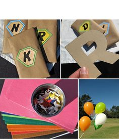 Craft/Party Favor  Package with a cape, initial stencil, felt, etc to trace their initial onto felt and glue onto their cape.     Could also include a mask!