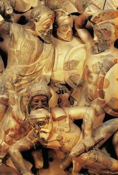 Guerrieri, decorazione di frontone rivenuto a Pyrgi, il porto di Caere, 550 a. C. ca. -  Museo Nazionale Etrusco, Roma.