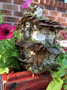 Beautiful two story fairy house with bark moss by ChezDarlington Second Story, Miniature Houses, Fairy Houses, Pine Cones, Grapevine Wreath, Sea Glass, Grape Vines, Create Yourself, Unique Gifts