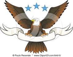 84915-Royalty-Free-RF-Clipart-Illustration-Of-A-Bald-Eagle-Perched-On-A-Blank-White-Banner-Under-Three-Blue-Stars.jpg (450×355)