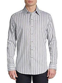 Robert Graham Swallowtail Jacquard Sportshirt - White - Size L