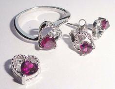 3.80 Gm Natural Rhodolite Garnet Jewelry Sets Lot 925 Solid Sterling Silver…