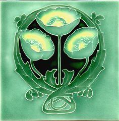 Historic Tiles - Moulded Art Nouveau Tiles - Green Poppy