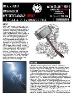 Mjolnir || SHIELD Evidence File || 736px × 944px || #fanart Marvel Facts, Marvel Memes, Marvel Dc Comics, Marvel Funny, Avengers Imagines, Avengers Quotes, Avengers Shield, Marvel Avengers, Marvel Cinematic Universe Timeline