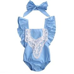 Newborn Toddler Girl Romper Bow-knot Lace Splicing Clothing Jumpsuit+Headband Suit Hello World Cute Girls Cloth Sets Baby Lace Jumpsuit, Lace Romper, World's Cutest Girl, Woodsy Baby Showers, Toddler Girl Romper, Lace Outfit, One Piece Outfit, Girls Rompers, Outfit Sets