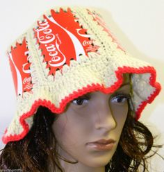 Coca-Cola Knitted Crocheted Soda Pop Cans Art Top Vintage Hat Cap Coke Couture