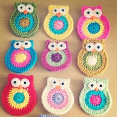 Crochet owl brooches