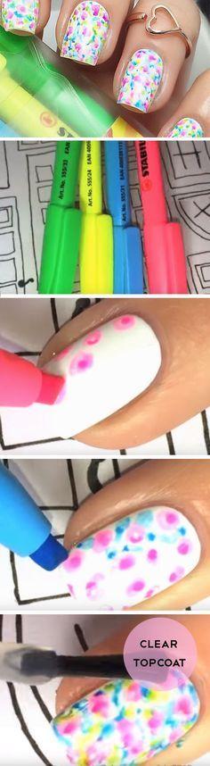 Ongles fait avec des crayons surligneurs!!!