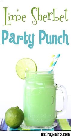 Lime Sherbet Party Punch Recipe! the perfect punch for your next Birthday Party, Baby Shower, or Green themed celebration!
