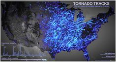 This map shows tornado tracks from 1950 to 2006. Stronger tornadoes appear as brighter lines.  The map was created by John Nelson of IDV Solutions using data that's available on Data.gov. Learn more about the map.