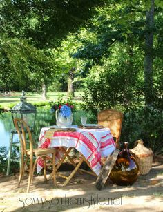 French Countryside Dining, outdoor dining, table for two,