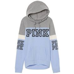 Victoria Secret Pink high cowl colorblock gray and blue pullover sweater xs Pink Outfits, Teen Outfits, Latest Outfits, Blue Hoodie, Grey Sweatshirt, Victoria's Secret Pink, Hooded Sweatshirts, Blue Grey, Gray