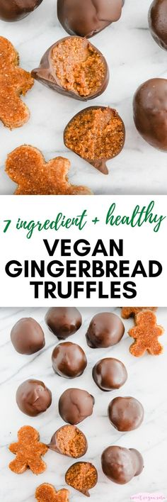 Vegan gingerbread truffles are sweet, spiced, no bake treats that are perfect for Christmastime! They're made with just 7 simple ingredients, gluten and grain free, and naturally sweet. #gingerbread #vegangingerbread #christmas #veganchristmas #truffles #chocolate #glutenfree #grainfree #dessert #vegandessert