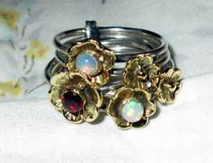 RING -  Fire OPALS  - GARNET - Flowers - Stacking  5- Two tone - stacking- 925 - Sterling Silver  - size     Opals3709 by MOONCHILD111 on Etsy