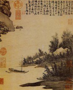 明代 - 唐寅 - 震澤烟樹圖 Zhenzeyanshutu 46cm x 37.8cm National Palace Museum, Taipei Tang Yin(1470-1523)