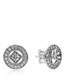 "Pandora Earrings - Sterling Silver & Cubic Zirconia Detachable Studs | Imported | Style #290721CZ | Front stud: 0.2"" diameter, Back stud: 0.5"" diameter 